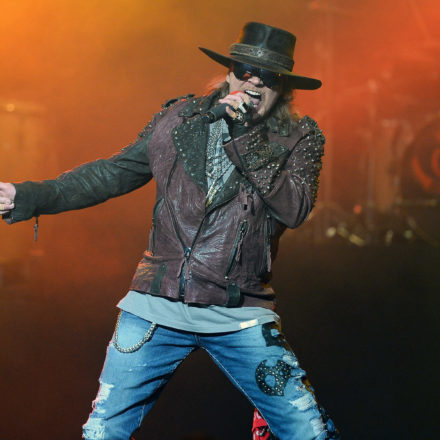 """LAS VEGAS, NV - MAY 21:  Singer Axl Rose of Guns N' Roses performs at The Joint inside the Hard Rock Hotel & Casino during the opening night of the band's second residency, """"Guns N' Roses - An Evening of Destruction. No Trickery!"""" on May 21, 2014 in Las Vegas, Nevada.  (Photo by Ethan Miller/Getty Images)"""