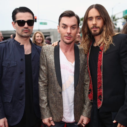 LOS ANGELES, CA - JANUARY 26:  (L-R) Musicians Tomo Milicevic, Shannon Leto and actor-singer Jared Leto of Thirty Seconds to Mars attend the 56th GRAMMY Awards at Staples Center on January 26, 2014 in Los Angeles, California.  (Photo by Christopher Polk/Getty Images for NARAS)